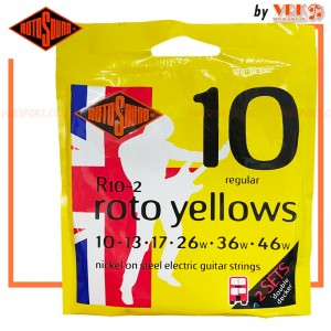 Rotosound สายกีตาร์ไฟฟ้า รุ่น R10-2 (แพ็ค 2 ชุด) ROTO YELLOWS | 10-46